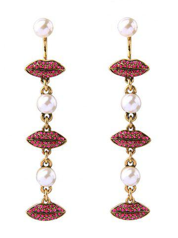 Discount Faux Pearl Rhinestone Lips Drop Earrings