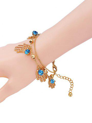 Fancy Rhinestone Palm Charm Bracelet GOLDEN