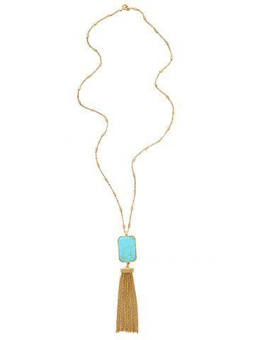 Online Faux Turquoise Alloy Geometric Sweater Chain