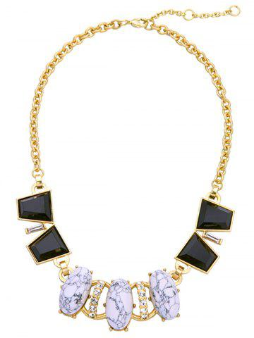 Chic Faux Gem Rhinestone Oval Necklace COLORMIX