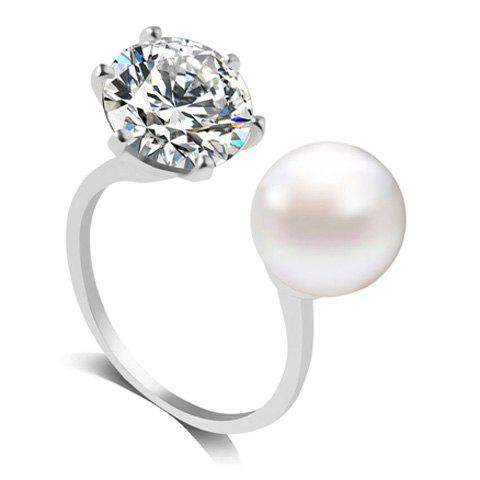 Artificial Diamond Pearl Rhinestone Wedding Engagement Ring - Silver - One-size