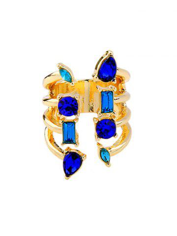 Fashion Alloy Faux Sapphire Cuff Ring
