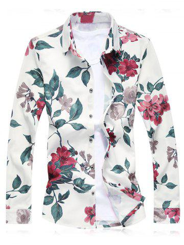 Best Plus Size Floral Leaves Print Long Sleeve Shirt RED 3XL