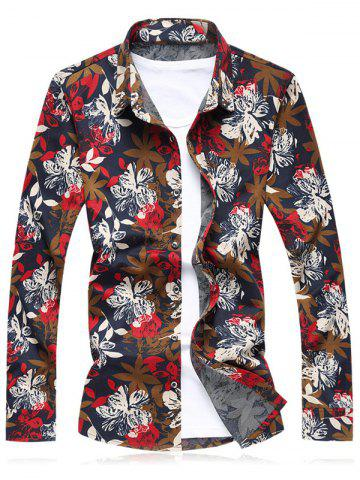 Shop Flower Printed Plus Size Long Sleeve Shirt RED 6XL