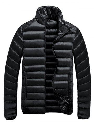 Fashion Stand Collar Zip-Up Quilted Jacket BLACK 3XL