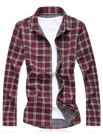Latest Turn-Down Collar Plus Size Checked Long Sleeve Shirt