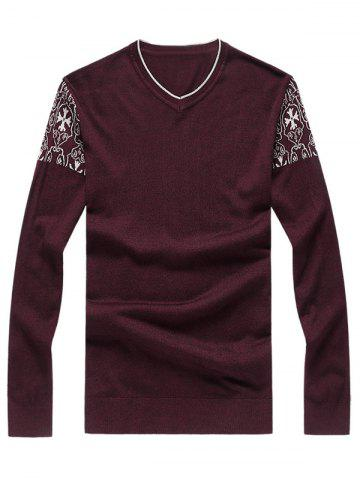 Sale V-Neck Crucifix Knit Long Sleeve Plus Size Sweater