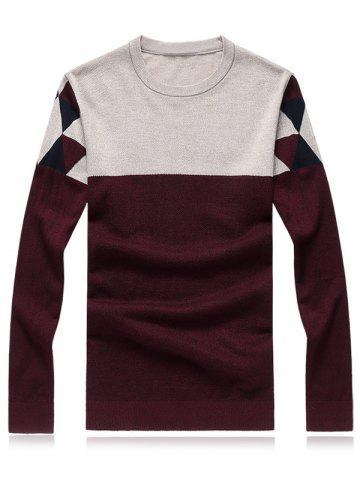Trendy Crew Neck Geometric Color Block Splicing Plus Size Sweater RED 5XL