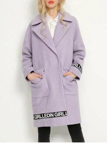 Trendy Drop Shoulder Cocoon Coat LIGHT PURPLE S