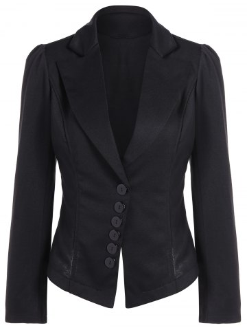 Buy Asymmetric Lapel Single Breasted Blazer - L BLACK Mobile
