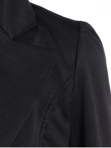 Chic Asymmetric Lapel Single Breasted Blazer - L BLACK Mobile