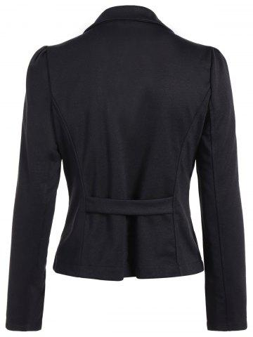Unique Asymmetric Lapel Single Breasted Blazer - L BLACK Mobile