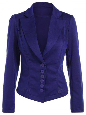 Fancy Asymmetric Lapel Single Breasted Blazer BLUE L