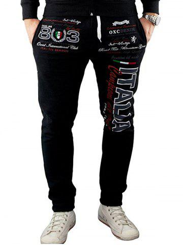 Shops Italia Printed Drawstring Waist Jogger Pants - L BLACK Mobile