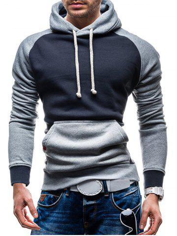 Chic Raglan Sleeve Color Block Kangaroo Pocket Hoodie