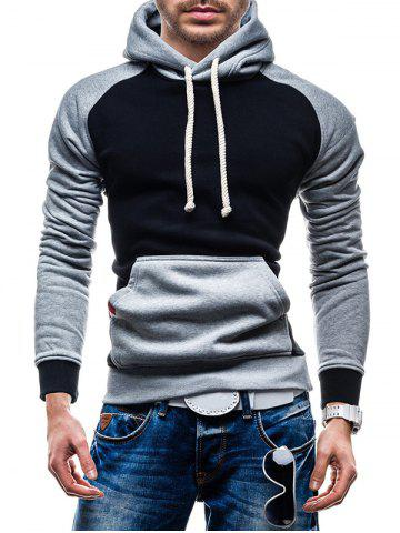 Cheap Raglan Sleeve Color Block Kangaroo Pocket Hoodie