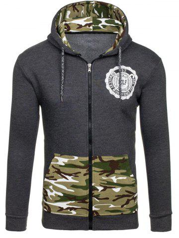 Discount Zip-Up Logo Printed Camouflage Hoodie DEEP GRAY XL
