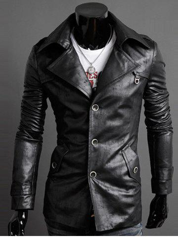 Buy Slim-Fit Notched Collar Epaulet Design PU Jacket