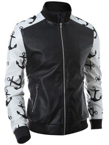 Shops Stand Collar Zip-Up Printed Spliced PU Jacket