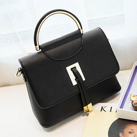 New Magnetic Closure Metal Textured Leather Tote Bag - BLACK  Mobile
