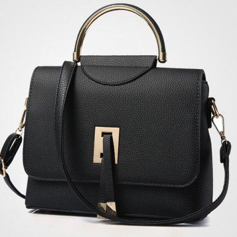 Buy Magnetic Closure Metal Textured Leather Tote Bag - BLACK  Mobile