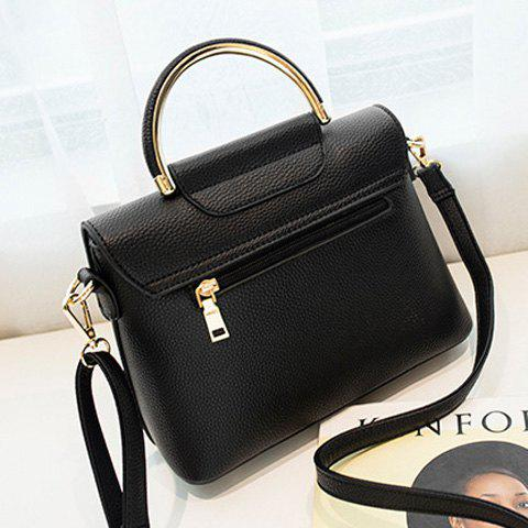 Trendy Magnetic Closure Metal Textured Leather Tote Bag - BLACK  Mobile
