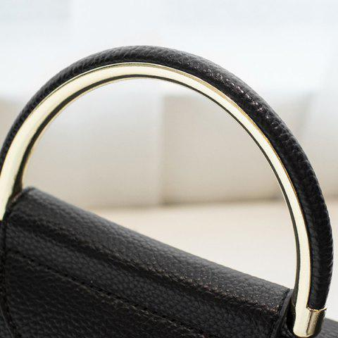 Latest Magnetic Closure Metal Textured Leather Tote Bag - BLACK  Mobile