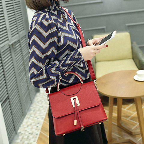 Hot Magnetic Closure Metal Textured Leather Tote Bag DEEP RED
