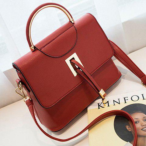 New Magnetic Closure Metal Textured Leather Tote Bag - DEEP RED  Mobile