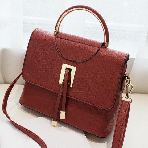 Affordable Magnetic Closure Metal Textured Leather Tote Bag - DEEP RED  Mobile