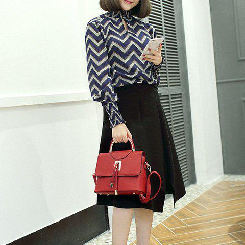 Shops Magnetic Closure Metal Textured Leather Tote Bag - DEEP RED  Mobile