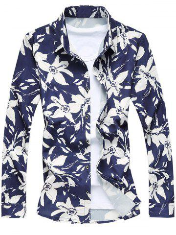 Outfit Single-Breasted Long Sleeve Floral Shirt CADETBLUE 2XL