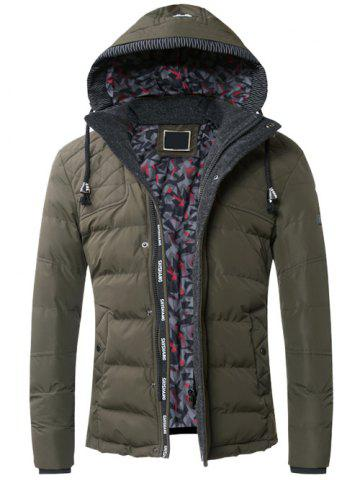 Fashion Drawstring Hooded Zip-Up Snap-Fastener Quilted Jacket