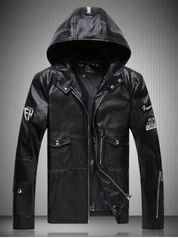 Unique Patch Design Multi-Pocket Zippered Hooded Faux Leather Jacket