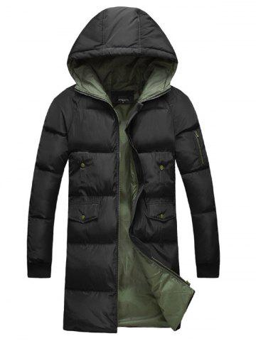 Latest Multi-Pocket Zippered Rib Cuff Hooded Padded Coat - 2XL BLACK Mobile