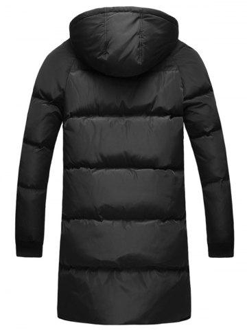 Affordable Multi-Pocket Zippered Rib Cuff Hooded Padded Coat - 2XL BLACK Mobile