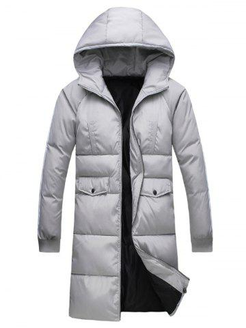 Outfits Rib Cuff Button Pocket Zip Up Hooded Padded Coat