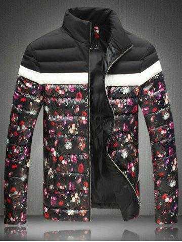 Best Floral Print Zip-Up Stand Collar Padded Jacket