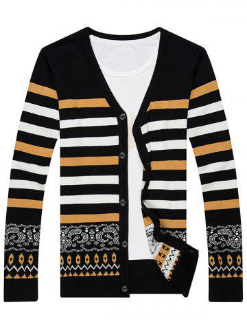Best Single Breasted Color Block Stripe Splicing Fitted Cardigan