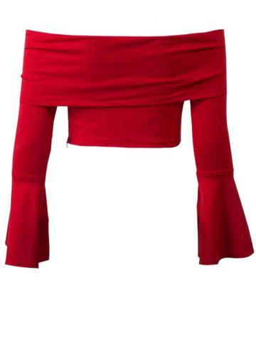 Off The Shoulder Bell Sleeve Crop Top - Red - L