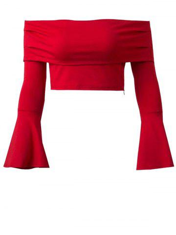 Trendy Off The Shoulder Bell Sleeve Crop Top RED S