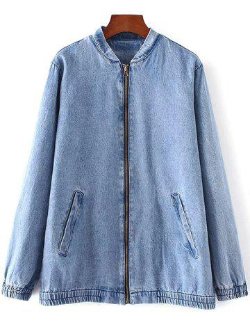 Sale Bleach Wash Denim Bomber Jacket
