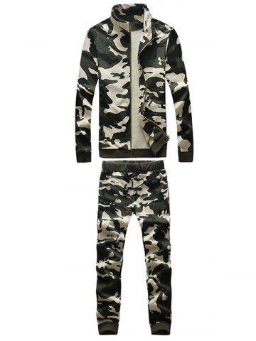 Hot Camouflage Drawstring Long Sleeve Active Suit (Jacket with Pants)