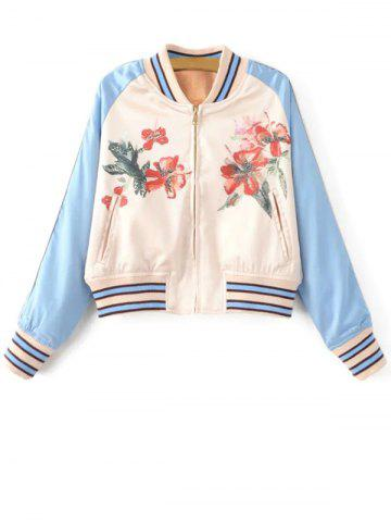 Affordable Floral Print Zipped Bomber Jacket