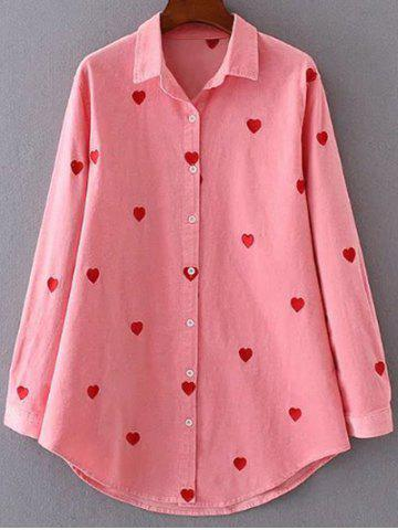Discount Heart Pattern Embroidered Corduroy Button Up Shirt