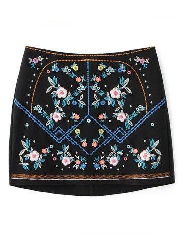 Chic Floral Embroidered Mini Skirt - S BLACK Mobile