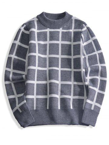 Latest Ribbed Trim Cashmere Crewneck Plaid Sweater