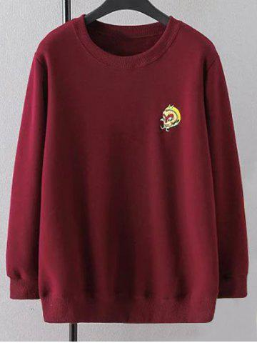 Hot Crew Neck Plus Size Embroidered Sweatshirt WINE RED 3XL