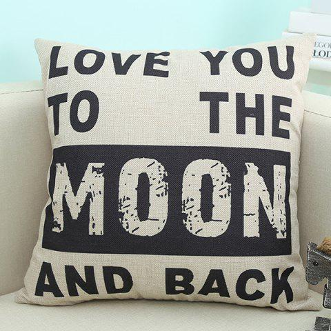 Modern Love You Moon Letter Printed Sofa Cushion Pillow Case - Beige - 45*45cm