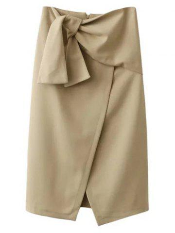 New Tied Front Slit Asymmetric Skirt